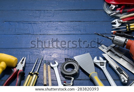 Carpenter Tools with Copy Space     - stock photo