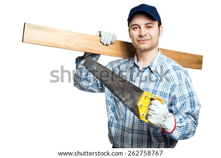 Carpenter with his tools isolated on white - stock photo