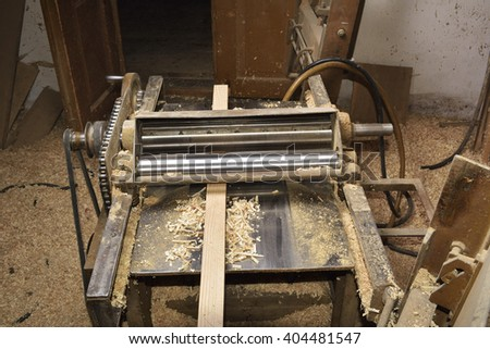 Carpenter working. Carpenter tools on wooden table with sawdust. Carpenter workplace - stock photo