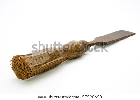 Carpenters Tool Old Worn Chisel Isolated - stock photo