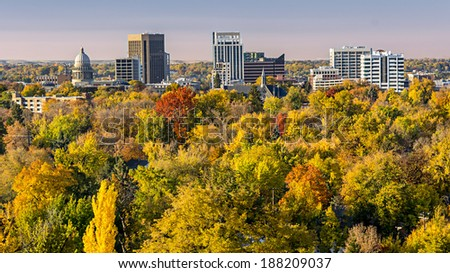 Carpet of autumn colors before the city of Boise Idaho - stock photo