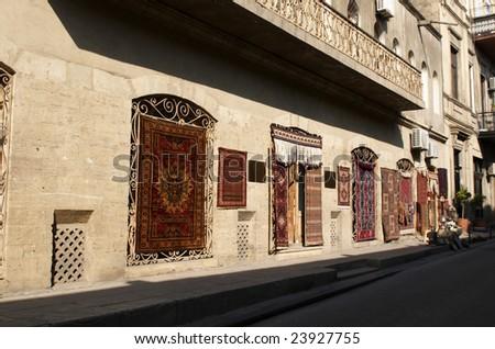 Carpet shop In old town. Baku, Azerbaijan. - stock photo