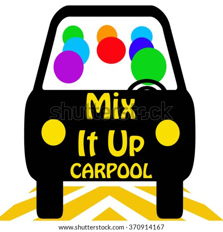 carpool mix it up poster colorful illustration - stock photo