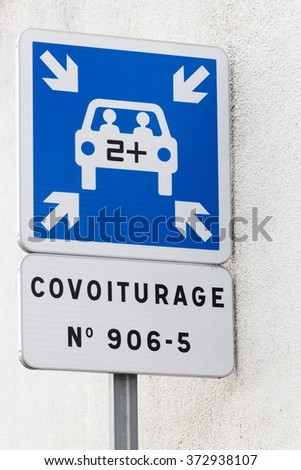 Carpool point panel in France - stock photo