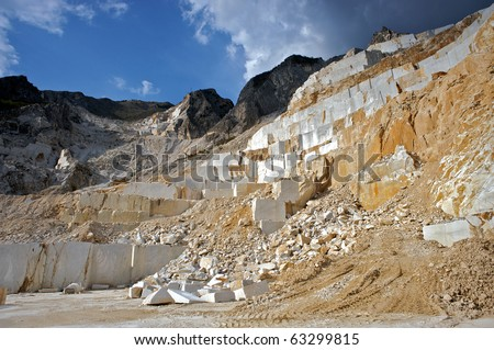 carrara quarries - stock photo