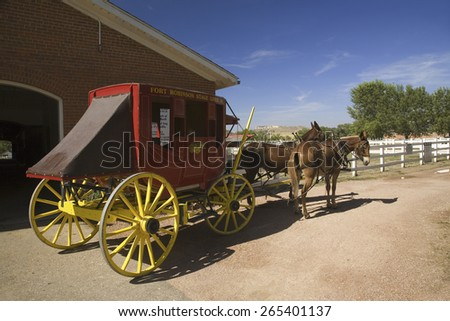Carriage and horses at historic Fort Robinson State Park, Northwestern Nebraska, west of Crawford - stock photo