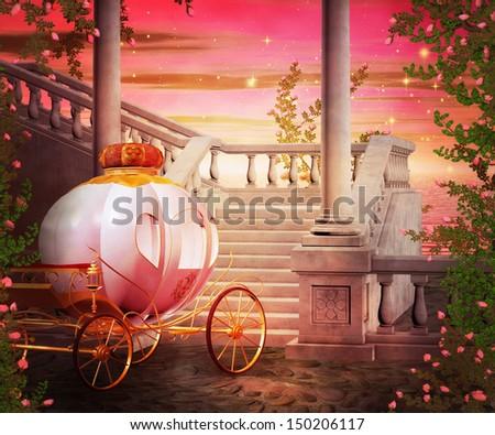 Carriage Castle Fantasy Backdrop - stock photo