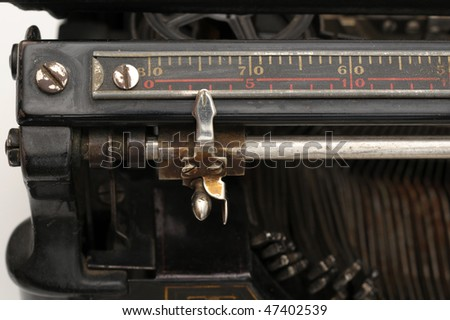 Carriage on an old typewriter - stock photo