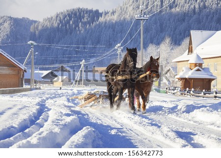carriage with horses in the winter in village - stock photo