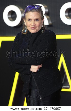 """Carrie Fisher at the European premiere of """"Star Wars: The Force Awakens"""" in Leicester Square, London.  December 16, 2015  London, UK Picture: James Smith / Featureflash - stock photo"""