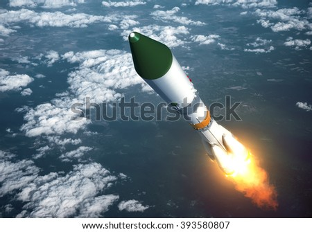 Carrier Rocket Launch In The Clouds. 3D Scene. - stock photo