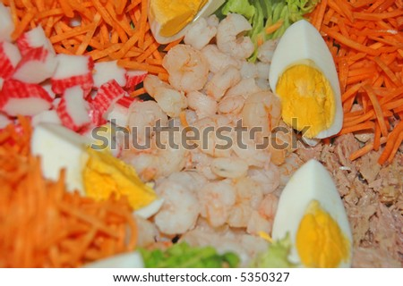 carrot and eg salad - stock photo