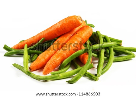 carrot and green beans on a white background - stock photo