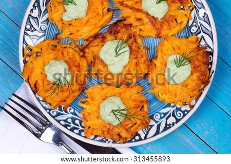 Carrot Pancakes With  Yogurt Sauce - stock photo