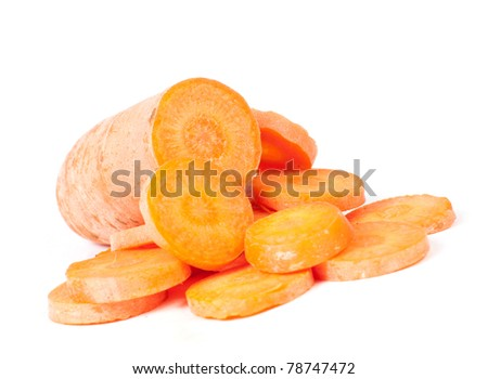 Carrot slices lying on white background isolated - stock photo