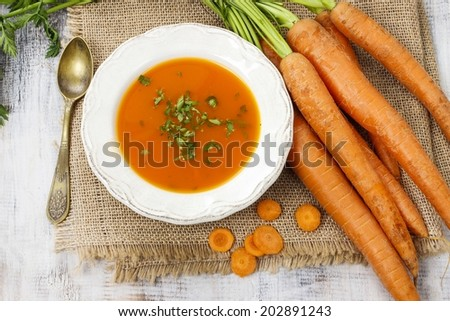 Carrot soup - stock photo