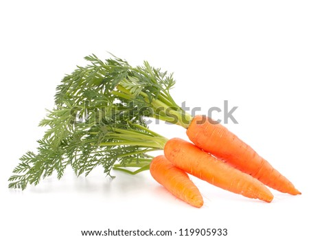 Carrot vegetable with leaves isolated on white background cutout - stock photo