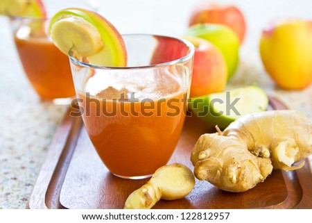 Carrot with Apple and Ginger juice - stock photo