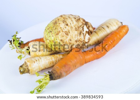 Carrots and parsley on white ,carrot in studio ,parsley in studio ,vegetables on white ,vegetables in studio ,tasty , orange vegetables ,white vegetables ,fresh vegetables ,sweet vegetables ,celery  - stock photo