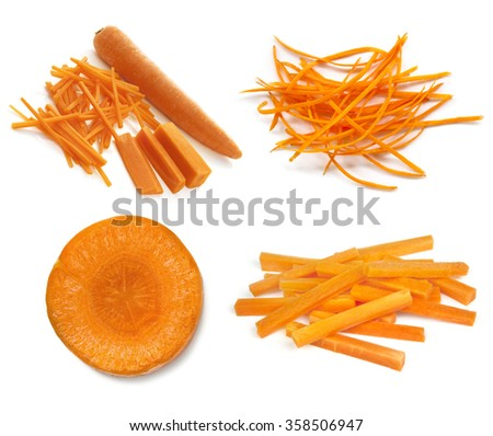 Carrots collection isolated on white.  Whole and cut, sticks, slices, and julienned. - stock photo