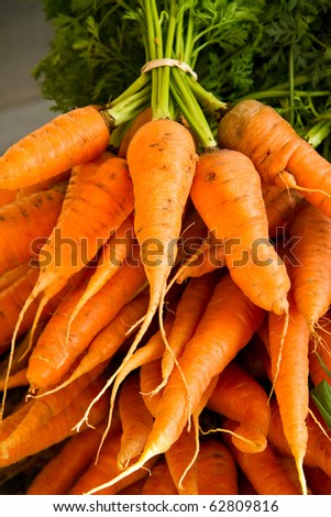 Carrots for sale at a farmer's market - stock photo