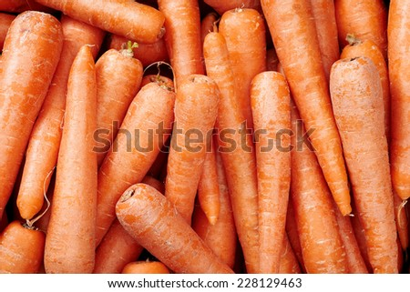Carrots Raw fruit and vegetable backgrounds overhead perspective, part of a set collection of healthy organic fresh produce - stock photo