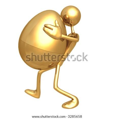 Carrying Golden Nest Egg - stock photo