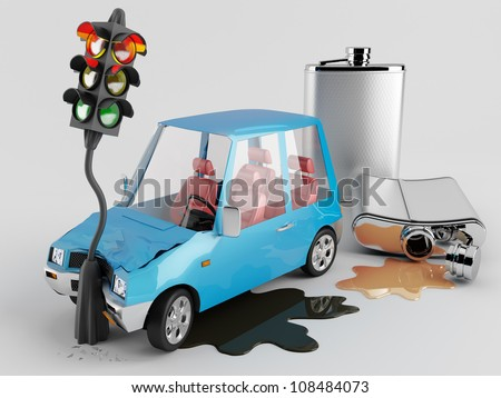 Cars and Alcohol.  Car accident caused by alcohol - stock photo