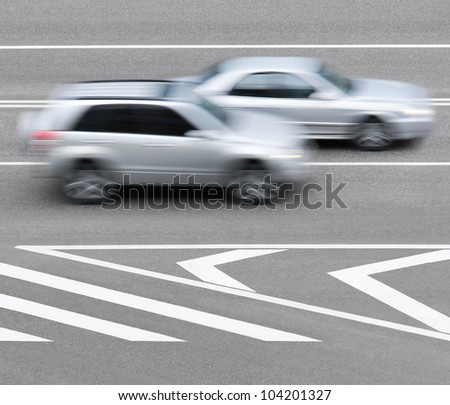 Cars and Road markings - stock photo