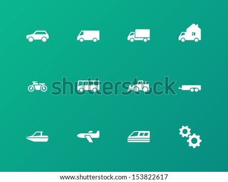 Cars and Transport icons on green background. See also vector version. - stock photo
