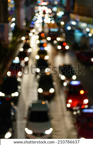 cars at night in a traffic jam  - stock photo