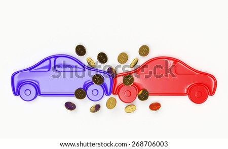 Cars collision and compensation as a result of an accident concept. Blue car crashed into another car isolated on a white background - stock photo
