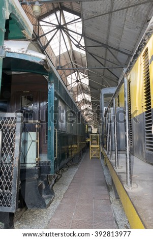 Cars. Detail of old train wagons - stock photo