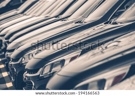Cars For Sale Stock Lot Row. Car Dealer Inventory - stock photo