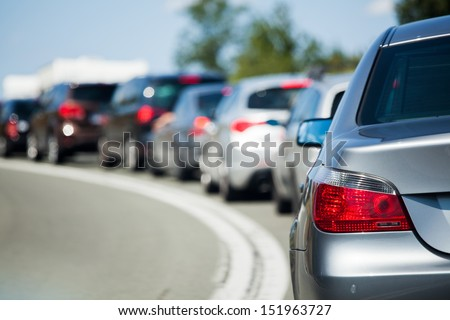 cars in a tourist traffic jam - stock photo