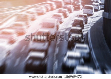 cars on highway (blurred) - stock photo