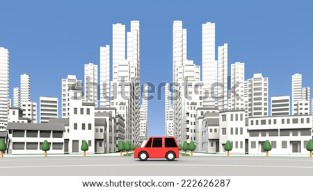 Cars on the street building - stock photo