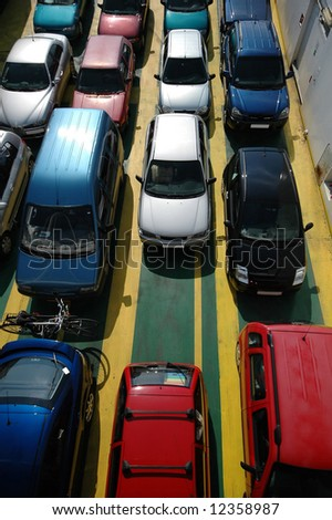 Cars seen from above - stock photo