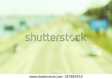 Cars traffic on highway. Blurred background - stock photo