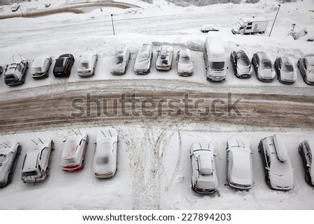 Cars under snow - stock photo