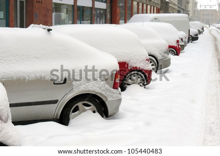 Cars under snow in Zagreb - stock photo
