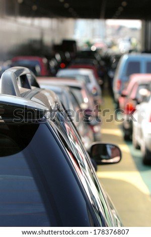 Cars waiting in the traffic. - stock photo