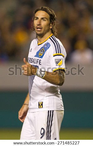 CARSON, CA. - APR 18: Alan Gordon during the L.A. Galaxy game against Sporting Kansas City on April 18, 2015 at the StubHub Center in Carson, California. - stock photo
