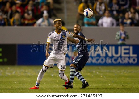 CARSON, CA. - APR 18: Bradford Jamieson (L) & Kevin Ellis in action during the L.A. Galaxy game against Sporting Kansas City on April 18, 2015 at the StubHub Center in Carson, California. - stock photo