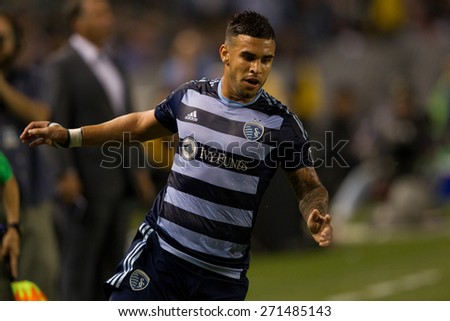 CARSON, CA. - APR 18: Domonic Dweyer in action during the L.A. Galaxy game against Sporting Kansas City on April 18, 2015 at the StubHub Center in Carson, California. - stock photo