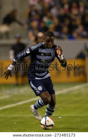 CARSON, CA. - APR 18: Jalil Anibaba in action during the L.A. Galaxy game against Sporting Kansas City on April 18, 2015 at the StubHub Center in Carson, California. - stock photo