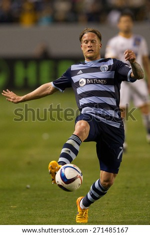CARSON, CA. - APR 18: Marcel de Jong in action during the L.A. Galaxy game against Sporting Kansas City on April 18, 2015 at the StubHub Center in Carson, California. - stock photo