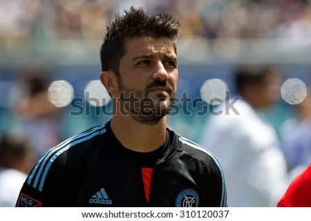 CARSON, CA. - AUG 23: David Villa during the L.A. Galaxy game against New York City FC on Aug 23, 2015 at the StubHub Center in Carson, California. - stock photo