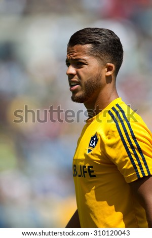 CARSON, CA. - AUG 23: Giovani Dos Santos during the L.A. Galaxy game against New York City FC on Aug 23, 2015 at the StubHub Center in Carson, California. - stock photo