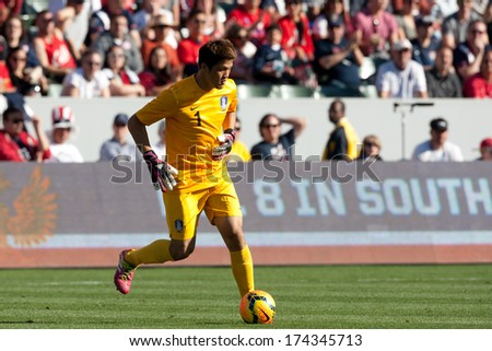CARSON, CA. - FEB 01: Korea GK Sung-Ryong Jung #1 in action during the U.S. mens national team soccer friendly against Korea Republic on Feb 1st 2014 at the StubHub Center in Carson, Ca. - stock photo